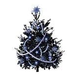 Kerstmisspar met zilverachtige vonken stock illustratie