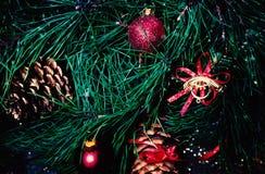 Kerstmisspar - Vrolijke Kerstmis en Gelukkige Nieuwjaarskaart Stock Fotografie