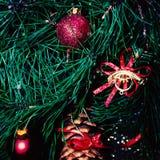 Kerstmisspar - Vrolijke Kerstmis en Gelukkige Nieuwjaarskaart Royalty-vrije Stock Foto