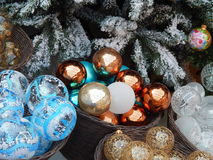 Kerstmisspeelgoed als achtergrond Stock Foto's