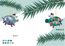 Kerstmisspeelgoed in de vorm van varkens royalty-vrije stock fotografie