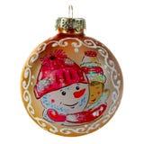 Kerstmisspeelgoed, gouden bal met een sneeuwmanpatroon royalty-vrije stock foto's