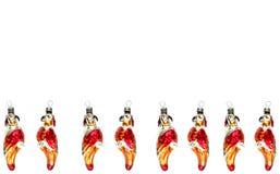 Kerstmisspeelgoed van glaspapegaaien over wit royalty-vrije stock fotografie