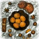 Kerstmisspicery, noten en decoratie Royalty-vrije Stock Foto's