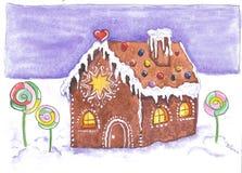 Kerstmisstemming, gemberhuis in de sneeuw royalty-vrije stock fotografie