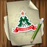Kerstmissticker. Stock Afbeeldingen