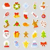 Kerstmisstickers Geplaatst Inzamelingsvector beeldverhaal Nieuwe jaar traditionele symbolen pictogrammenvoorwerpen Geïsoleerde Stock Fotografie