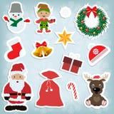 Kerstmisstickers van vastgestelde kinderen Stock Foto's
