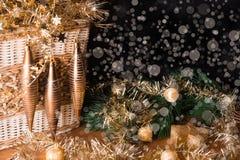 Kerstmisstilleven met sneeuwimitatie Stock Fotografie