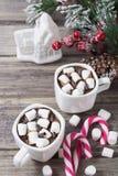 Kerstmisstilleven met twee koppen van hete chocolade Stock Afbeelding