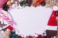 Kerstmisstilleven met Witboek voor tekst De ruimte van het exemplaar Royalty-vrije Stock Afbeelding