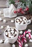 Kerstmisstilleven - twee koppen van hete chocolade met heemst, suikergoed, stuk speelgoed huis Royalty-vrije Stock Afbeelding