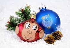 Kerstmisstuk speelgoed aap stock foto