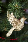 Kerstmisstuk speelgoed - gouden vogel Royalty-vrije Stock Foto's