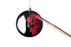Kerstmisstuk speelgoed verfborstel Stock Foto