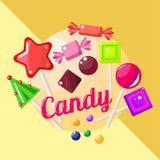Kerstmissuikergoed en snoepjes Royalty-vrije Stock Afbeeldingen
