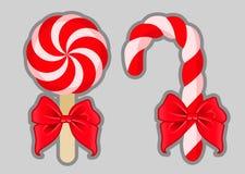 Kerstmissuikergoed met bogen Vector beeld Royalty-vrije Stock Afbeelding