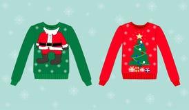 Kerstmissweater op blauwe achtergrond met sneeuwvlokken Royalty-vrije Stock Afbeeldingen