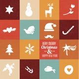 Kerstmissymbolen & pictogrammen in uitstekende kleuren Stock Foto's