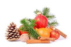 Kerstmistak en klokken Stock Fotografie