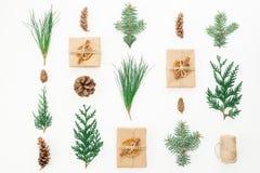 Kerstmistak en klokken Giftdoos, de winterinstallaties en kegels op witte achtergrond De winter, nieuwe jaarsamenstelling Vlak le Royalty-vrije Stock Fotografie