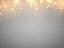 Kerstmistak en klokken Het vectorgoud schittert deeltjes achtergrondeffect Gevallen gloed magische sterren Stock Afbeeldingen