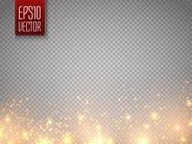 Kerstmistak en klokken Het vectorgoud schittert deeltjes achtergrondeffect Gloed magische die sterren op transparant worden geïso royalty-vrije stock afbeelding