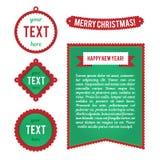 Kerstmistekens, etiketten, etiketten Malplaatjes voor groetkaarten, reclamepamfletten, bevorderingen, vliegers Vectortekens Royalty-vrije Stock Afbeelding