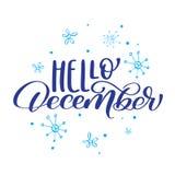 Kerstmistekst Hello December op achtergrond van sneeuwvlokken Het vectorontwerp van de illustratiedruk Stock Afbeelding