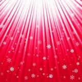 Kerstmistextuur met glanzende sneeuwvlokken en stralen Stock Foto