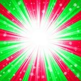 Kerstmistextuur met glanzende sneeuwvlokken en stralen Stock Fotografie