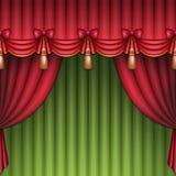 Kerstmistheater of circusgordijnen als achtergrond, rode en groene Royalty-vrije Stock Afbeeldingen