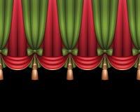 Kerstmistheater of circusgordijnen als achtergrond, rode en groene Royalty-vrije Stock Afbeelding