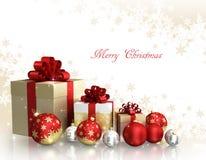 Kerstmisthema met glasballen en giftvakjes en vrije ruimte voor tekst Royalty-vrije Stock Afbeeldingen