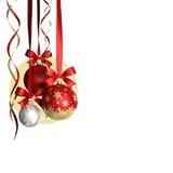 Kerstmisthema met glasballen en vrije ruimte voor tekst Royalty-vrije Stock Foto
