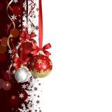 Kerstmisthema met glasballen en vrije ruimte voor tekst Stock Foto's
