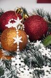 Kerstmisthema met Kerstmisdecoratie Stock Afbeeldingen
