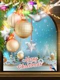 Kerstmisthema - Venster met een soort Eps 10 Stock Foto's