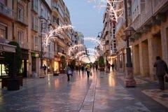 Kerstmistijd in Cartagena, voetstraat Calle Carmen Royalty-vrije Stock Foto