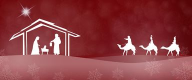 Kerstmistijd - Geboorte van Christusscène stock illustratie
