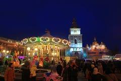 Kerstmistijd in Kiev Stock Fotografie