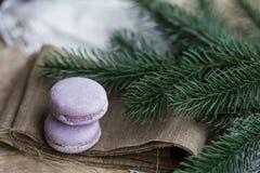 Kerstmistijd, makarons Royalty-vrije Stock Fotografie