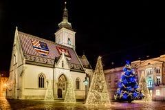 Kerstmistijd in Zagreb, Kroatië stock afbeeldingen