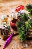 Kerstmistoebehoren in uitstekende stijl Stock Afbeeldingen