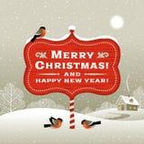 Kerstmisuithangbord en de winterlandschap Royalty-vrije Stock Fotografie