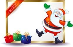 Kerstmisuithangbord met gelukkige Kerstman en giften Royalty-vrije Stock Afbeeldingen