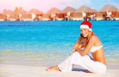 Kerstmisvakantie op de Maldiven Stock Foto's