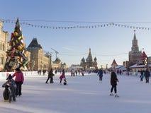 Kerstmisvakantie op het Rode Vierkant in Moskou Royalty-vrije Stock Foto