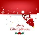 Kerstmisvector, het beeldverhaal van de Kerstman in wintertijdinvitatio royalty-vrije illustratie
