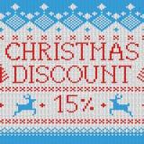 Kerstmisverkoop: Korting 15% (Skandinavisch patroon) Royalty-vrije Stock Afbeeldingen